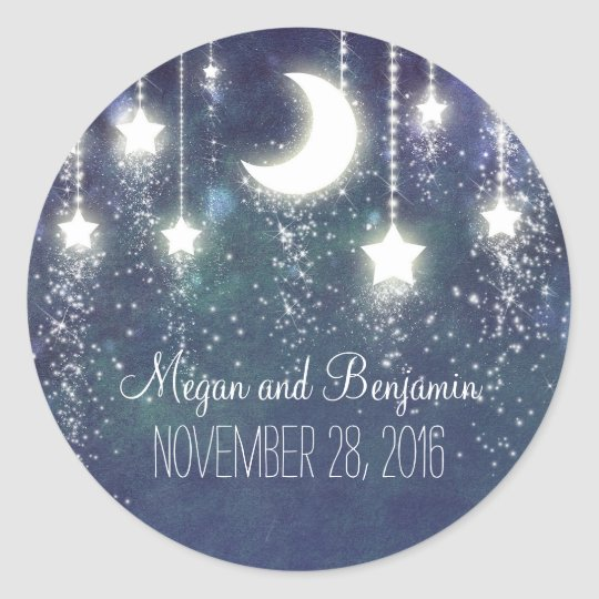 moon and stars enchanted romantic wedding classic round
