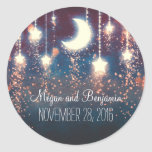 moon and stars enchanted romantic wedding round sticker