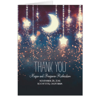 Moon and Stars Enchanted Wedding Thank You Note Card
