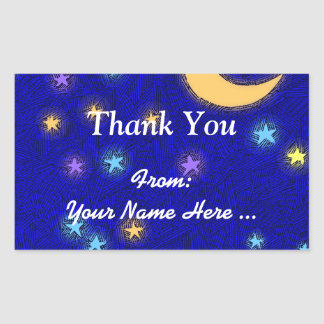 Moon and Stars Etching Custom Thank You Sticker