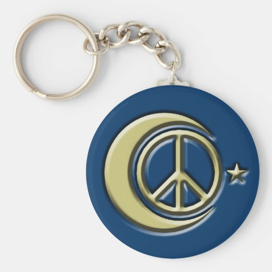 Moon and Stars for Peace Basic Round Button Key Ring