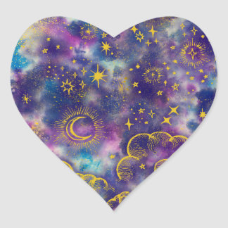 """""""Moon and Stars"""" Heart Sticker (Gold-Etc)"""