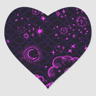 """""""Moon and Stars"""" Heart Sticker (PK/BLK/PUR)"""