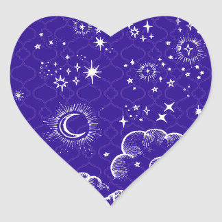 """""""Moon and Stars"""" Heart Sticker (WH/BLU/PUR)"""