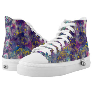 """Moon and Stars"" High Tops Shoes (Gold-Etc) Printed Shoes"