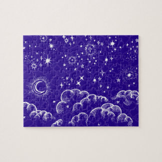 """""""Moon and Stars"""" Jigsaw Puzzle Game (WH/BLU/PUR)"""