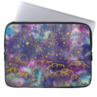 """Moon and Stars"" Laptop Sleeve Neoprene (Gold-Etc)"