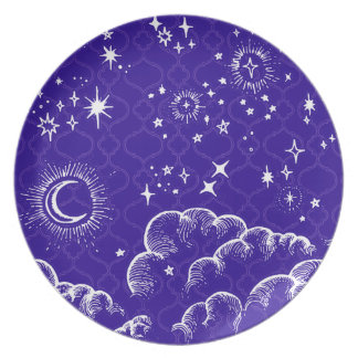 """""""Moon and Stars"""" Melamine Plate (WH/BLU/PUR)"""