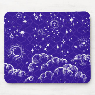"""""""Moon and Stars"""" Mousepad Moroccan (WH/BLU/PUR)"""