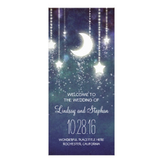 moon and stars navy wedding program rack card