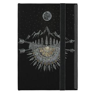 Moon and Stars Night Sky Mountain Range Mandala Cases For iPad Mini