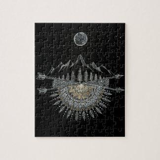 Moon and Stars Night Sky Mountain Range Mandala Puzzle