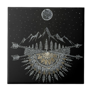 Moon and Stars Night Sky Mountain Range Mandala Tile