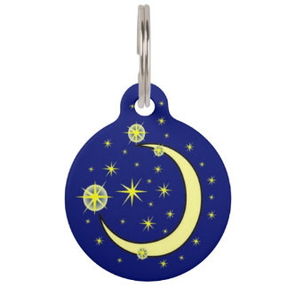 Moon and Stars Pet ID Tag
