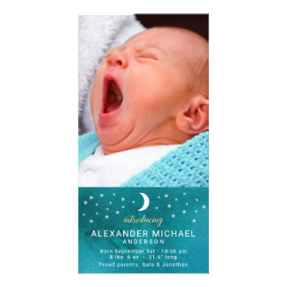 Moon and Stars Photo Baby Announcement Card