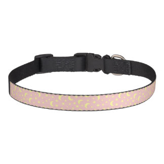 Moon and Stars Pink Background Pet Collar