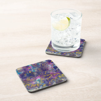 """""""Moon and Stars"""" Plastic Coasters (Gold-Etc)"""