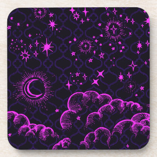 """""""Moon and Stars"""" Plastic Coasters (PK/BLK/PUR)"""