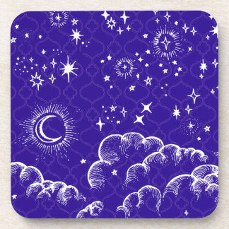 """""""Moon and Stars"""" Plastic Coasters (WH/BLU/PUR)"""