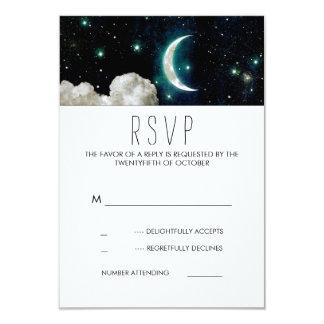 Moon and Stars Romantic Wedding RSVP Card 9 Cm X 13 Cm Invitation Card