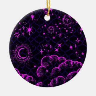 """""""Moon and Stars"""" Round Ornament (PK/BLK/PUR)"""
