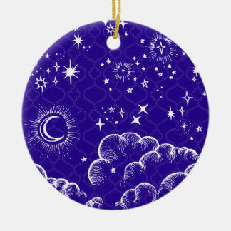 """Moon and Stars"" Round Ornament (WH/BLU/PUR)"
