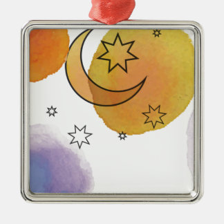 Moon and Stars Silver-Colored Square Decoration