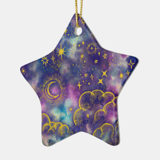 """""""Moon and Stars"""" Star Ornament (Gold-Etc)"""