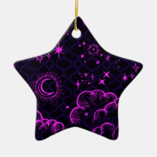 """""""Moon and Stars"""" Star Ornament (PK/BLK/PUR)"""