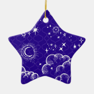 """""""Moon and Stars"""" Star Ornament (WH/BLU/PUR)"""