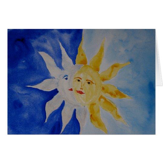 Moon And Sun Watercolor Card