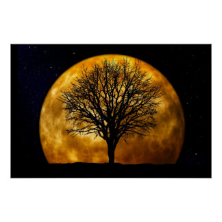 Moon and Tree Poster-Customizable Print