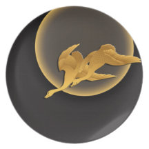 Moon and wild geese dinner plate