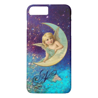 MOON ANGEL IN BLUE GOLD SPARKLES Monogram iPhone 7 Plus Case