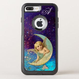 MOON ANGEL IN BLUE GOLD SPARKLES Monogram OtterBox Commuter iPhone 8 Plus/7 Plus Case