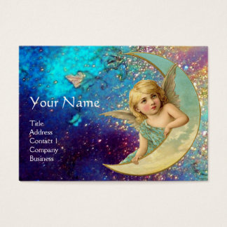 MOON ANGEL IN BLUE GOLD YELLOW SPARKLES