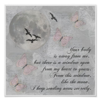 Moon Birds Away from You Rumi Collage Poster