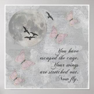 Moon Birds Fly Escape Rumi Collage Art Print