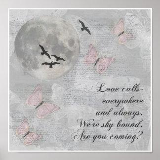 Moon Birds Love Calls Rumi Collage Art Poster