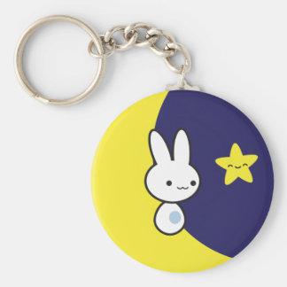 Moon Bunny Basic Round Button Key Ring