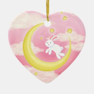 Moon Bunny Pink Christmas Ornament