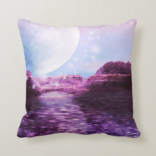 Moon by the sea throw pillow