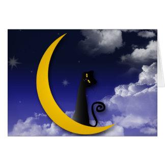 moon cat design greeting card