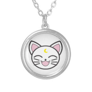 moon cat silver plated necklace