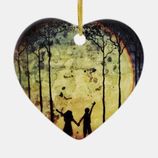 Moon Children Ceramic Heart Decoration