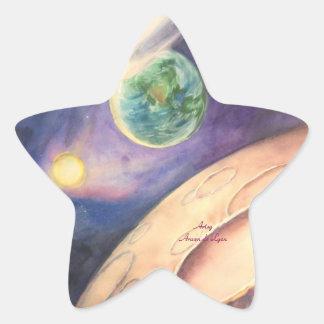 Moon, Comet, Earth, Sun Star Sticker