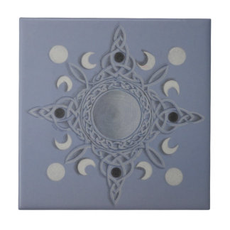 Moon cycle -celtic knot small square tile