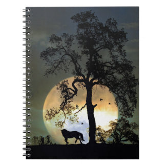 Moon Dance Horse and Full Moon Gifts Spiral Notebook