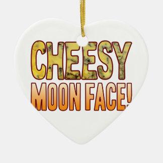 Moon Face Blue Cheesy Ceramic Heart Decoration