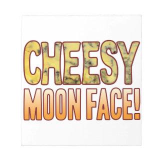 Moon Face Blue Cheesy Notepad